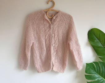 Vintage 60's Blush Pink Mohair Wool Cardigan Sweater