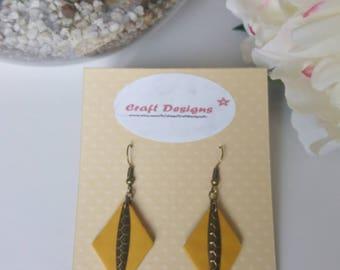 Diamond mustard polymer clay and bronze charm earrings
