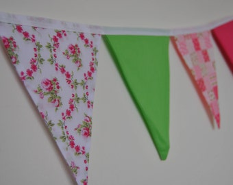 Green, pink and floral bunting