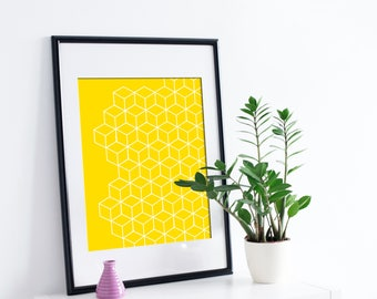 Modern Geometric Print | Yellow Geometric Style Print Poster | A4 | Printable | Instant Download!