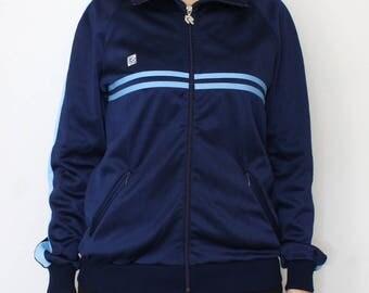 Vintage track jacket - 80s Robey sports jacket - vintage windbreaker - 70s / 80s Oldschool blue Tracksuit top - track jacket size D6 Medium