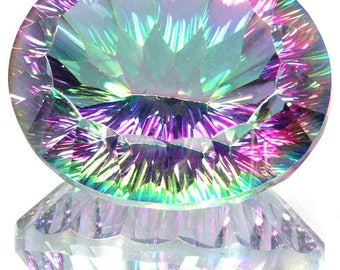 78.52Cts Natural Resplendent Rainbow Fire Mystic Topaz Oval Concave Cut Gemstone