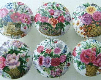 Ceramic Cabinet knobs 6 flower bouquets #1 Kitchen hardware pulls