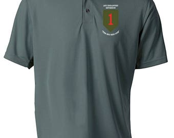 1st Infantry Division Embroidered Moisture Wick Polo Shirt -3173