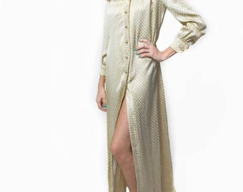 1980's Pearls & Satin Long Sleeved Maxi Dress