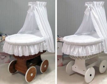Montessori bed, moses basket, baby buggy made of natural wicker and rattan with cradle bedding, crib sheets, baby bed canopy and mattress