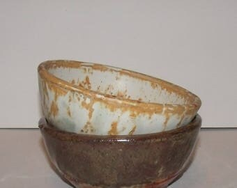 Two Small Brown and White Bowls 6 inch bowls Ceramic Handmade