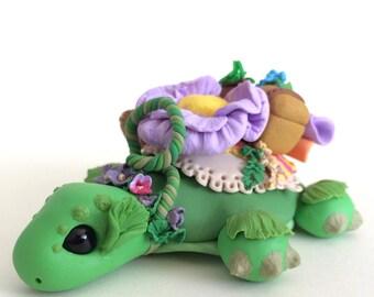 OOAK Herbalist Turtle Mount Polymer Clay Figurine Sculpture Fantasy Creature Flowers Floral