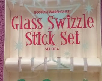 Set of six glass swizzle sticks