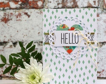"""Hello Hand Stamped, Multi Layered Card, Slightly smaller than A6 (5x3.5"""")"""