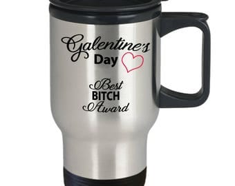 Unbiological Sister Mug - Galentine Valentine Day Heart - Best Friend Gift BFF Tribe Soul Sorority - 14oz Stainless Steel Coffee Travel Mug