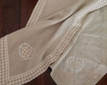 vintage linen table cloth wabi - sabi, country style table runner