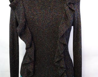 black multicolored shimmer top