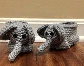 Elephant Baby Booties/ Gray Baby Booties