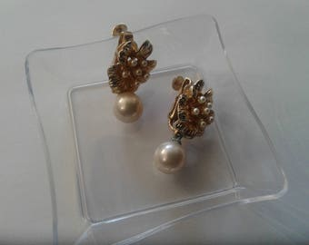 Vendome Floral and Faux Pearl Drop Clip On Earrings, Signed