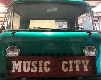 Music City Sign, Distressed Wooden Music City Sign