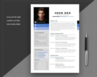 Resume template Marketing | CV Template + Cover Letter | Professional and Creative Resume | Teacher Resume | Word Resume | Instant Download