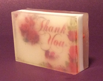 Handmade picture soap/thank you image soap