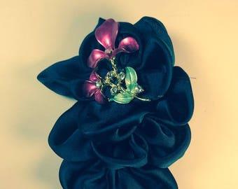 Ribbon brooch, Soft ribbon brooch, Navy blue brooch, 3 1/2 inches Accessory