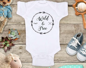 Wild and Free Circle Arrows boho hippie hipster design baby bodysuit baby shower gift - Made in USA - baby birth pregnancy announcement