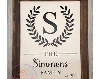 16x20 Framed Canvas - Family Name - Established Date - Home Decor - Valentine's Day Gift