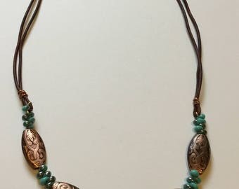 Turquoise, copper, necklace, gem, bead