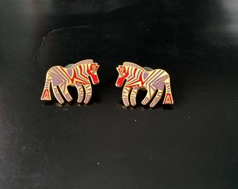 Vintage Laural Burch Wild Zebra Gold Tone Earrings in Red and Purple