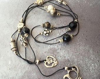 Black Beaded Tie Necklace