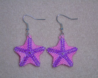 Seed Bead Luminous Starfish Earrings