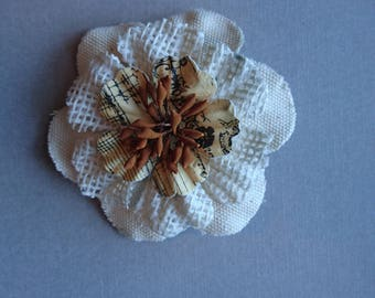 White and Burlap Flower Hair Clip