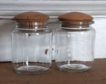 Pair of Cork-topped Glass Storage Jars