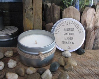 Lavender 8 oz. Soy Wax Candle Travel Tin Handmade
