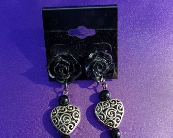 Heart and Black Rose Earrings