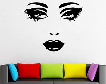 Wall Decal Window Sticker Beauty Salon Woman Face Eyelashes Lashes Eyebrows Brows t666