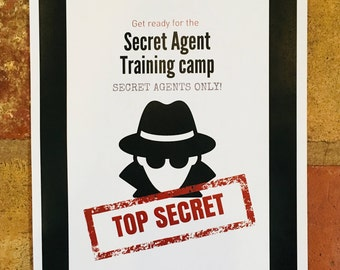 Secret agent training camp. Detective training. Spy birthday party. Instant download