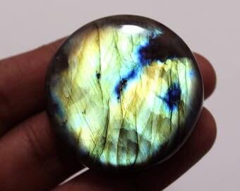131.10cts Natural Multi flash Labradorite Round 41X41X8 mm  Labradorite loose gemstone amazing & beautifull Labradorite nice flash AA-68