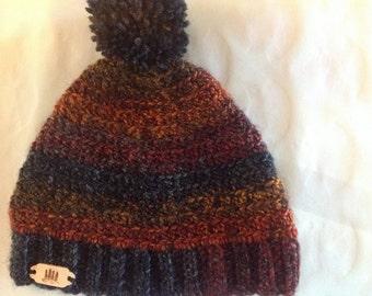 Crochet Hat/Beanie/Skull Cap/Hat/Beanie with Pom Pom/Crochet/Handmade Beanie/Dark Beanie/Multi colored Beanie/Hat/Winter Hat/Warm Hat