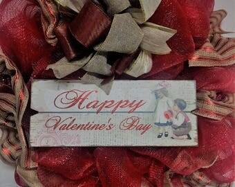 Valentine's Day wreath, deluxe front door or wall wreath.