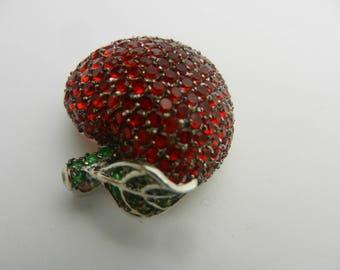 Sterling Silver Rhinestone Apple Cherry Pendant