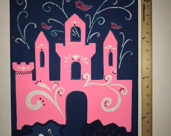 Glitter and Acrylic Pink Princess Castle on Stretched Canvas Art Painting