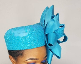 Stylish HandMade Blue Pillbox Hat