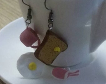 Handmade mix and match earrings, kitch breakfast set, includes toast, egg, bacon and coffee
