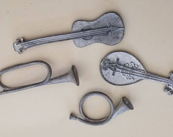 Pewter Musical Insrument Charms: Acoustic Guitar, Italian Mandolin, Bugle, and Hunting Horn.