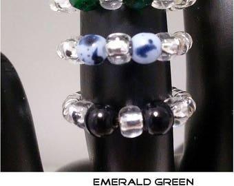 Beautiful stylish StretchToe Rings.  Czech glass, Silver, Stretch, Birthday, Fashion