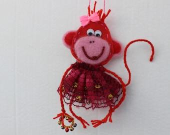 monkey Handmade,stitpendant monkey, souvenir-monkey, monkey key chain, decoration for interior, Chinese monkey horoscope, woolen monkey...