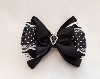 Black and White Range Handmade Kanzashi Bow On Alligator Clip