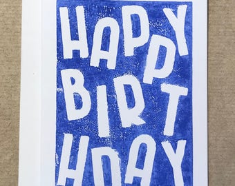 Happy Birthday Linocut Card