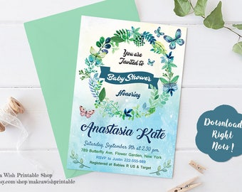 Butterfly Baby Shower Invitation, Watercolor Baby Shower Invitation, Baby Girl Shower Invites, 5x7 Baby Shower Invitation Instant Download