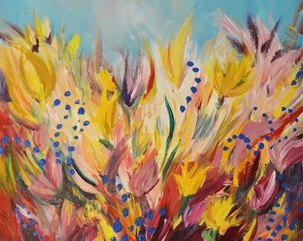 Acrylic Flower Painting on Canvas