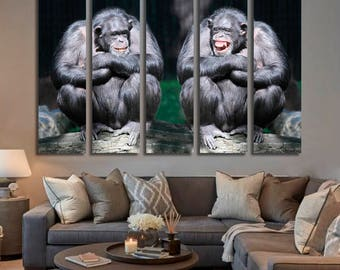 Chimpanzee Wall Art Chimpanzee Canvas Print Chimpanzee Large Wall Decor Chimpanzee Canvas Art Chimpanzee Painting Chimpanzee Poster Print